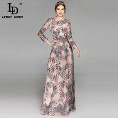 e647056f632 High Quality 2017 Fashion Maxi Floor Length Dress Women s elegant A-Line  Long Sleeve Floral