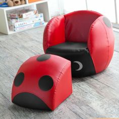 Kids Lady Bug Chair With Ottoman
