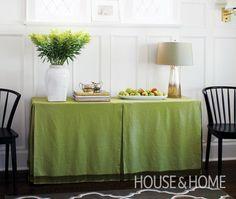 diy table skirt | DIY Fabric Table Skirt - House & Home...my next project :)