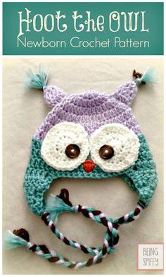 Free Crochet Hat Pattern – Hoot the Owl Newborn - Crochet Hat Patterns - 148 Free Patterns for Beginners - DIY & Crafts