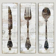 Natalie Wood Panel Wall Art, Spoon, Fork, and Knife- Informal dining if can't find cityscape picture