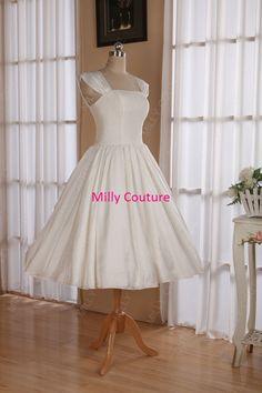 Cap sleeves 1950s  pin up wedding dress tea length, retro style wedding dress, wedding dress vintage, 1950s short wedding dress on Etsy, $159.00