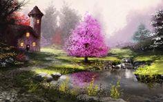 Обои деревья, домик, река, арт, природа