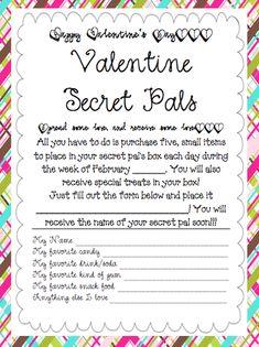 Soaring Through Second Grade: Valentine Secret Pals.  Like Secret Santa but for February.  Too fun!