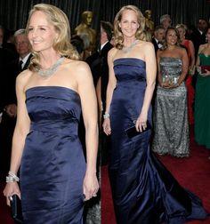Helen Hunt donned a navy H satin gown Jennifer Garner, Jennifer Aniston, Helen Hunt, Strapless Dress Formal, Formal Dresses, Satin Gown, What's Trending, Gowns, Navy