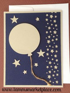 Balloon and Stars Handmade Blue and Beige Card MKC062