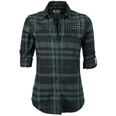 Shirt w/ flat studds (Checkshirt, Black Premium by EMP - Sweden Rock Shop, 449 SEK)