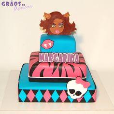 Monster High | Recortado | bolo draculaura clawdeen lagoona abbey spectra cleo nefera | Grãos de Açúcar - Bolos decorados - Cake Design