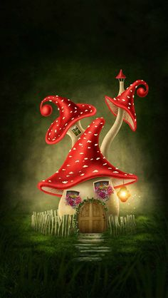 Illustration about Fantasy mushroom house in the forest. Illustration of tale, surreal, story - 51059052 Mushroom Drawing, Mushroom Art, Mushroom House, Fairy Art, Fairy Houses, Whimsical Art, Gnomes, Painted Rocks, Fantasy Art