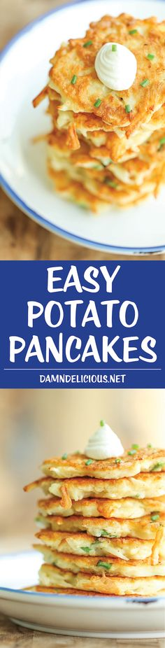 Easy Potato Pancakes Recipe via Damn Delicious - Wonderfully crisp, tender, and just melt-in-your mouth amazing. Can be served as an appetizer, side dish or even a light main dish! I Love Food, Good Food, Yummy Food, Yummy Pancake Recipe, Pancake Recipes, Latkes Recipe Easy, Potato Dishes, Side Dish Recipes, Pancake
