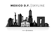 You can see the most important buildings, it& isolated and it also says Mexico DF Skyline over the silhouette. Skyline Silhouette, Silhouette Design, Mexico City, City Outline, Skyline Tattoo, Polaroid, City Sketch, City Drawing, Skyline Design