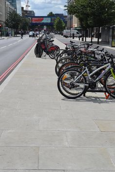 Whitworth Yorkstone flags with granite kerbs for the Cycle Super Highway throughout London.