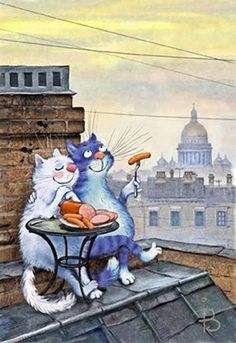 Russian blue cats? Picnic on the roof!