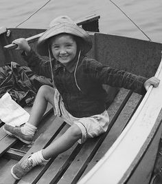 +~+~ Vintage Photograph ~+~+  Young girl ~ the captain of her own ship!