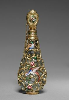Scent Bottle France, mid-19th century Date: mid-1800s Medium: glass with gold and enamel