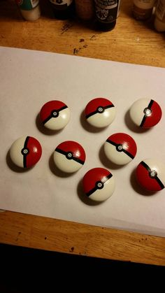 Hand painted wooden Pokémon knobs. Set of 8. 1.56 in. Screws are 1 1/2in long and are included. Sealed with a polycrylic protective finish.