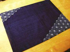 Indigo placemat with hemp-leaf pattern stitch, sashito