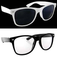Lot 2 Wayfarers Black Clear Lens and White Dark Lens H2W