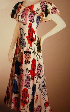 Elsa Schiaparelli dress: is it a Dali dress? Elsa Schiaparelli, 1930s Fashion, Vintage Fashion, Vintage Vogue, Gothic Fashion, Vintage Dresses, Vintage Outfits, Italian Fashion Designers, Winter Mode