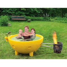 Astonish neighbors and guests with this bright yellow, round, portable, outdoor hot tub.