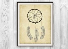 Dreamcatcher Art Print Bedroom decor Native by BySamantha