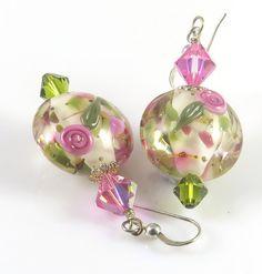 Pink Lampwork Earrings Flower Earrings Floral by GeeEssdesigns