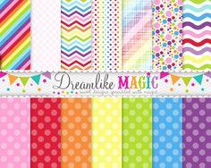 Digital Scrapbook Paper- Sweet Rainbows-scrapbook paper, digital paper, backgrounds, modern, whimsical, bright