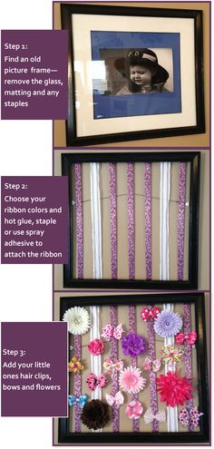 Hair Bow Organizer Picture Frame for Little Girls . . . great gift for someone with girls . . just buy bows, clips and wrap for gift . . awesome