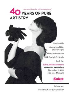 Join Suki's on Saturday, November 17th, 2012 from 7pm-12am for their 40th Anniversary celebration at the Vancouver Art Gallery.
