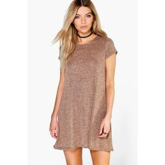 Boohoo Amber Short Sleeve Knitted Swing Dress ($18) ❤ liked on Polyvore featuring dresses, camel, tops, trapeze dress, turtleneck dress, sequin dress, short sleeve turtleneck and party dresses