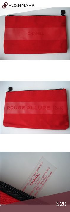 NEW VIP gift from Chanel makeup Bag ROUGE ALLURE Red Makeup Cosmetic Bag ( Pouch) Brand New  (without box). Not a retail item.Not for sale in shops.  VIP Gift from Chanel beauty counter. Colour:  bright red  . Has  signature   CHANEL  on front side and ROUGE ALLURE INK on the  back side.Red colored  lining . Material : Body 100% cotton.Lining 20% cotton,80%  polyester. Size :19 ,5 cm *11.5cm*2.5 cm (length * height * depth of bottom) Closure: black single  zipper. Condition: New…