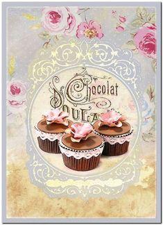 Vintage Diy, Decoupage Vintage, Decoupage Paper, Vintage Labels, Vintage Paper, Vintage Postcards, Vintage Images, Cupcake Images, Cupcake Art