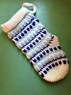 Free crochet Christmas Stocking Pattern featuring some fun texture and color work!