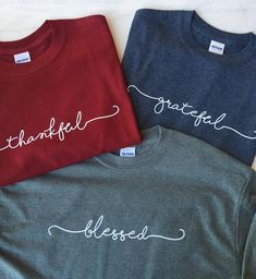 BLESSED Handwriting Script Short Sleeve Round Neck T Shirt Thankful Grateful Blessed Handwriting Script Tees Vinyl Shirts, Mom Shirts, Cute Shirts, Christian Clothing, Christian Shirts, T Shirt Citations, Maroon Shirts, Tee Shirt Designs, Diy Shirt