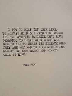 THE VOW Typewriter quote on 5x7 cardstock by WritersWire on Etsy, $5.00