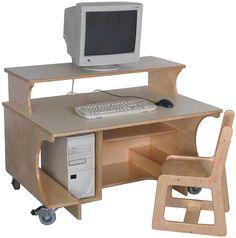 Mainstream Kindergarten Single Computer Table w-Monitor Shelf, 42''w x 30''d x 24''h work surface (Preschool shown)