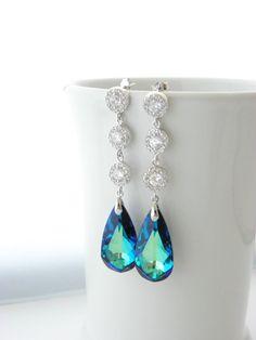 Long Peacock Wedding Earrings, Bermuda Blue Swarovski Earrings, Cubic Zirconia, Bridal Jewelry, Sterling Silver, Blue Teardrop Earrings, CZ