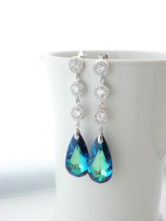 Long Peacock Wedding Earrings, Bermuda Blue Swarovski Earrings, Cubic Zirconia, Bridal Jewelry, Sterling Silver, Blue Teardrop Earrings, CZ