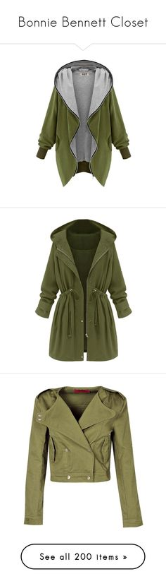 """Bonnie Bennett Closet"" by shadyannon ❤ liked on Polyvore featuring outerwear, jackets, tops, cardigans, casacos, hooded parka, long parka, cardigan coat, green parkas and green hooded parka"