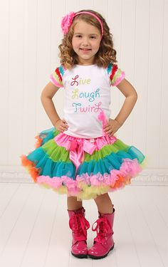 Love down to the boots!!  Live, Laugh, Twirl Outfit-kaiya eve, twirl, live, laugh, confetti, petti skirt, bright colors, chiffon, girl, birthday outfit, dress up, special occasion, pictures, spring, toddler, baby, trendy, baby boutique