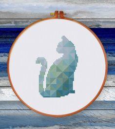 Modern Blue Cat cross stitch pattern Geometric Nursery animal design