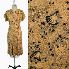 Vintage 40s Dress / 1940s NOVELTY Print Horse by GeronimoVintage