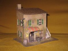 Italian House with Grocery Store Free Building Paper Model 1