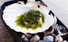 Grilled scallops with seaweed butter recipe