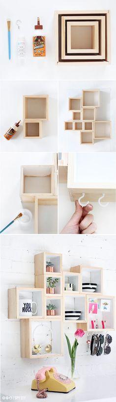 Diy: Una estantería con cajas de madera de inspiración nórdica