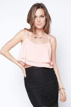 90s Lullaby - Summer Flutters Ruffle Pink Cropped Cami, $16.99 (http://www.90slullaby.com/shop/boho-femme/summer-flutters-ruffle-pink-cropped-cami/)