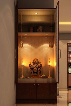 Interior Designers in Bangalore - Brigade Exotica Temple Design For Home, Indian Home Design, Living Room Partition Design, Room Partition Designs, Hall Interior Design, Home Interior, Kitchen Room Design, Home Room Design, Mandir Design