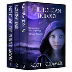 http://bookbarbarian.com/the-toucan-trilogy-three-dystopian-novels-night-of-the-purple-moon-colony-east-and-generation-m-by-scott-cramercomcast-net/ Amazon Best Seller in Dystopian Fiction and Survival Stories. This 240,000-word collection includes THREE complete novels - 800+ pages of high-action, dystopian drama for all ages.  For Abby Leigh, a purple moon was just the beginning. . .Dust from a passing comet turns the moon purple, but also carries a lethal pathogen that a