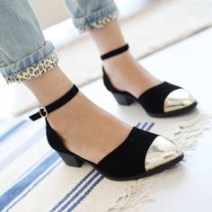 Europe and the United States the latest metal fabric fight face hasp thick with low-heeled shoes - Taobao