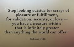 Stop looking outside for scraps of pleasure or fulfillment, for validations, security, or love – you have a treasure within that is infinitely greater than anything the world can offer. - Eckhart Tolle
